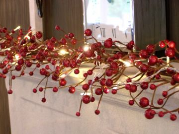 Luxury 5ft Large Gloss Red Berry Christmas Garland Table Decoration Lit Unlit **